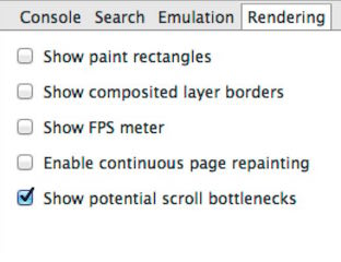 Show potential scroll bottlenecks chrome dev tools